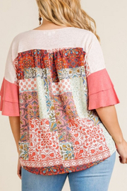 Umgee  Coral Mixed Print Top Curvy - Front full body