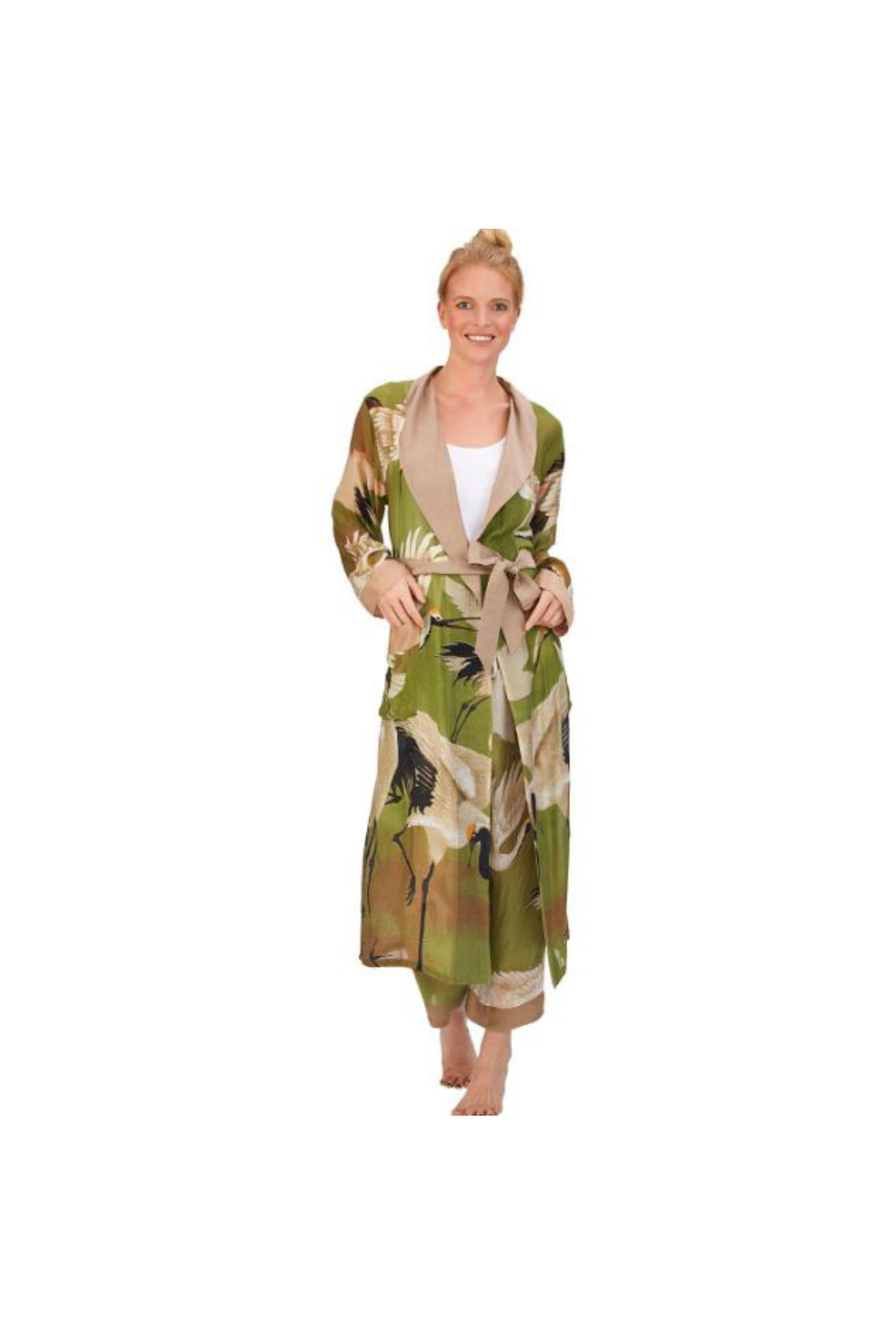 Two's Company Floral Viscose Robe Gown with Removable Waist Tie Closure - Front Cropped Image