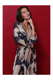 Two's Company Floral Viscose Robe Gown with Removable Waist Tie Closure - Front cropped