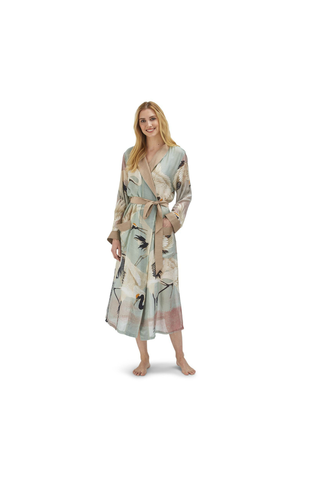 Two's Company Floral Viscose Robe Gown with Removable Waist Tie Closure - Main Image