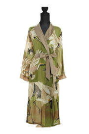 Two's Company Floral Viscose Robe Gown with Removable Waist Tie Closure - Front full body