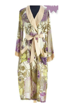 Shoptiques Product: Floral Viscose Robe Gown with Removable Waist Tie Closure