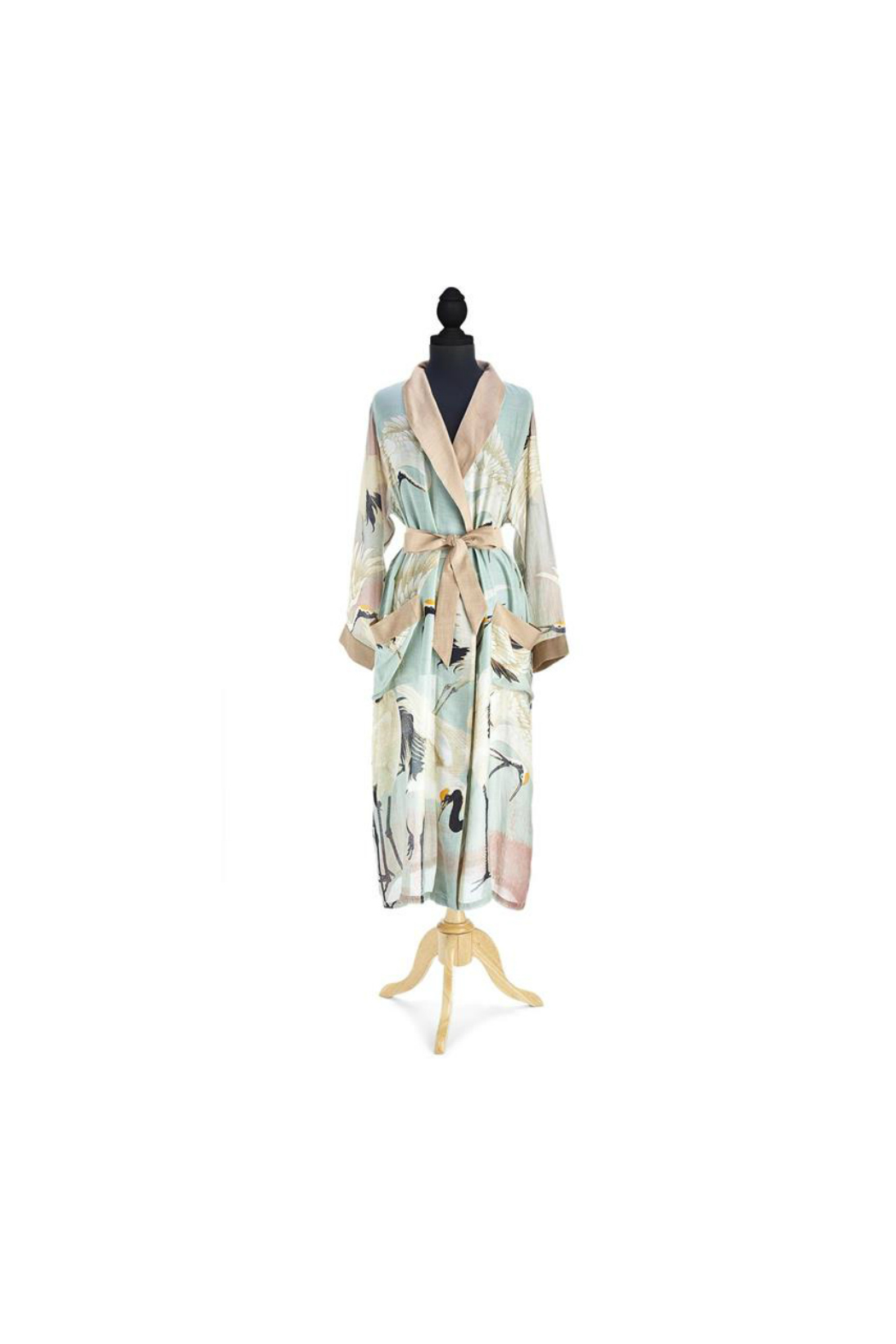 Two's Company Floral Viscose Robe Gown with Removable Waist Tie Closure - Front Full Image