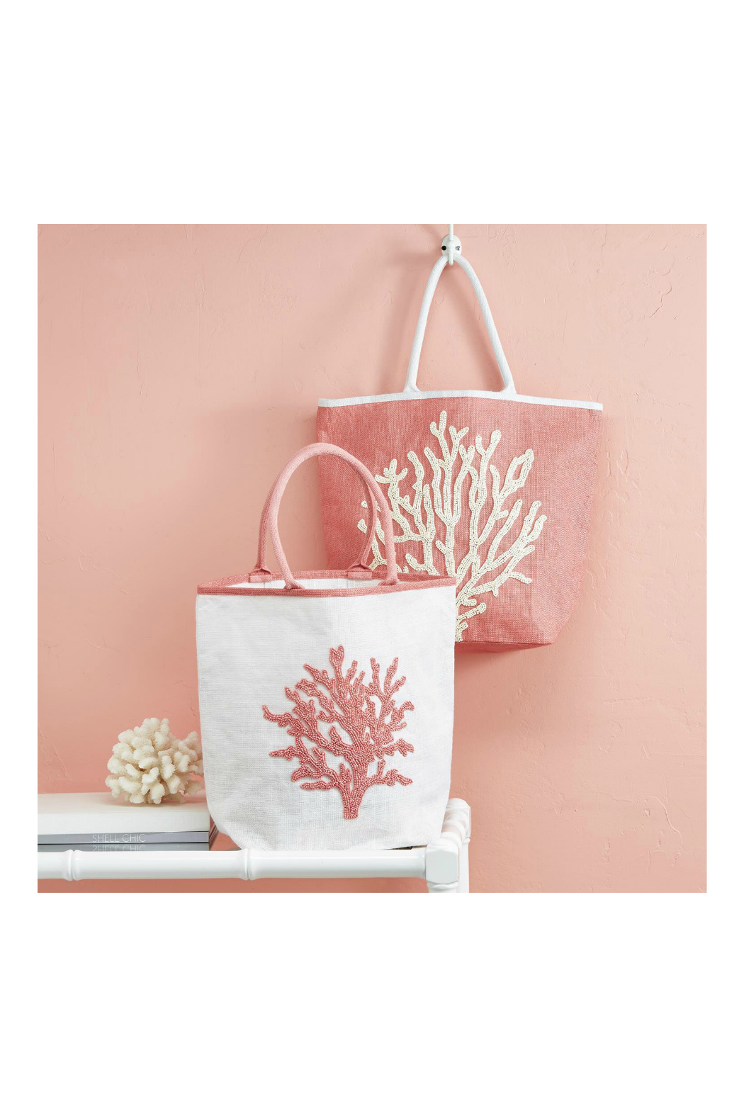 Two's Company CORAL REEF BEADED TOTE BAG - Main Image