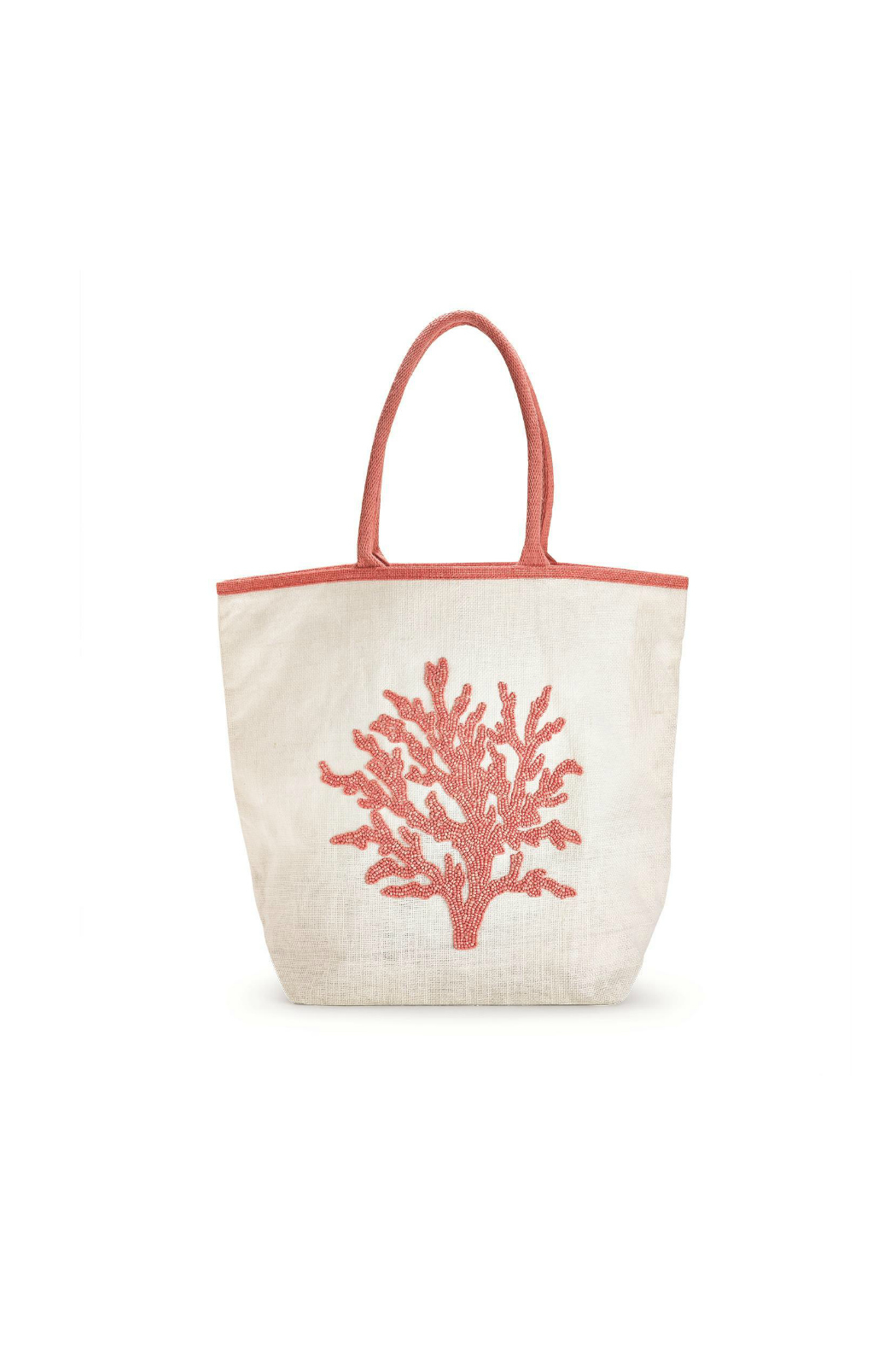Two's Company CORAL REEF BEADED TOTE BAG - Front Cropped Image