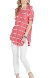 Mud Pie Coral Stripe Top - Front cropped