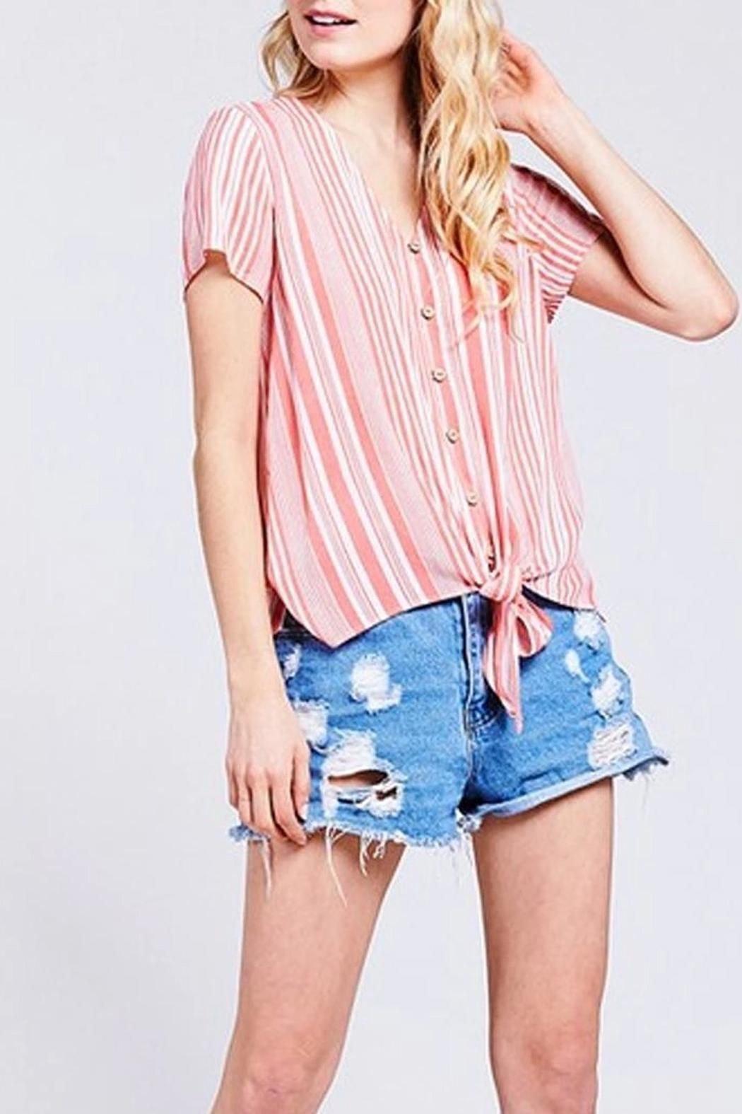 BaeVely Coral Striped Top - Main Image