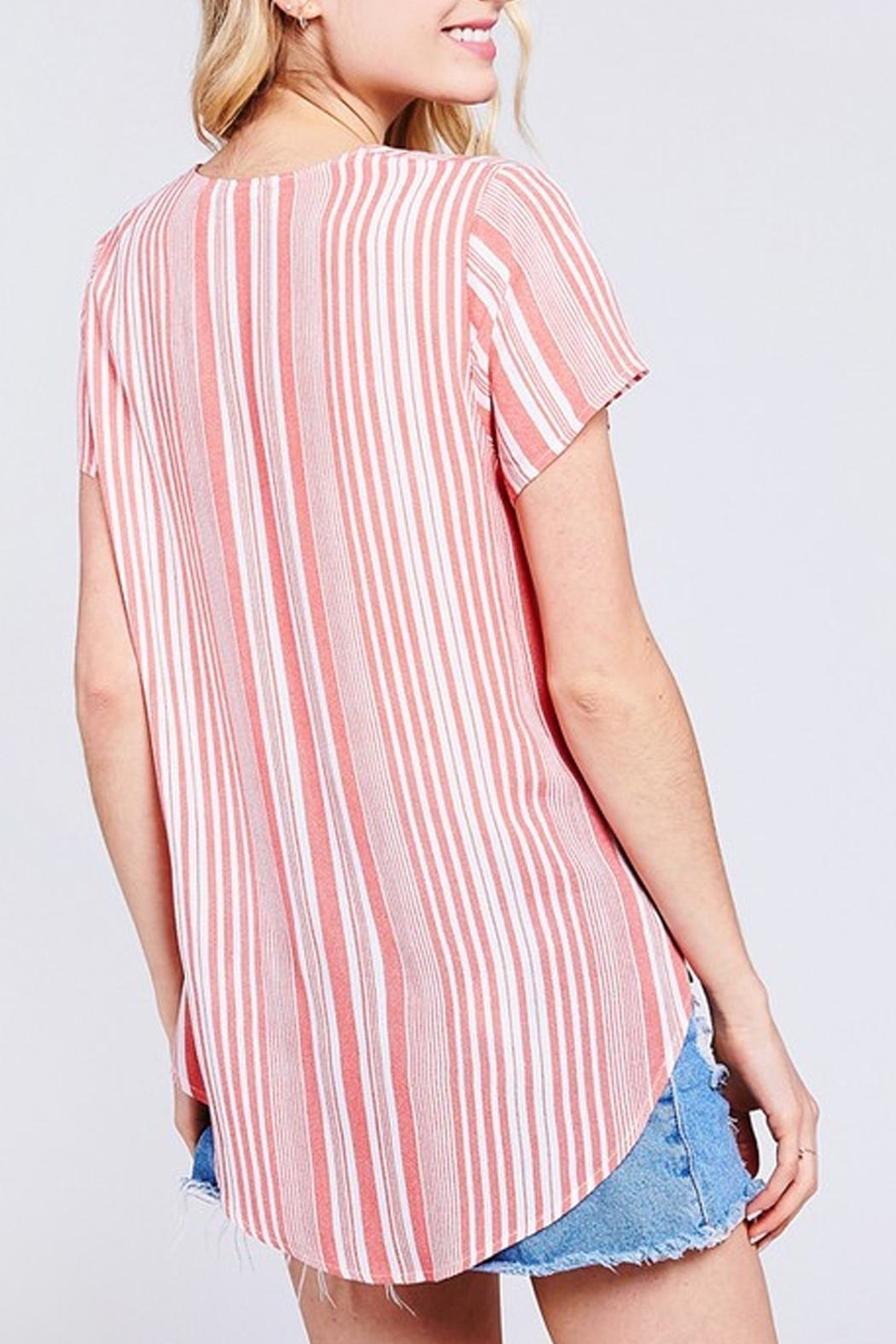 BaeVely Coral Striped Top - Front Full Image