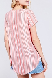 BaeVely Coral Striped Top - Front full body