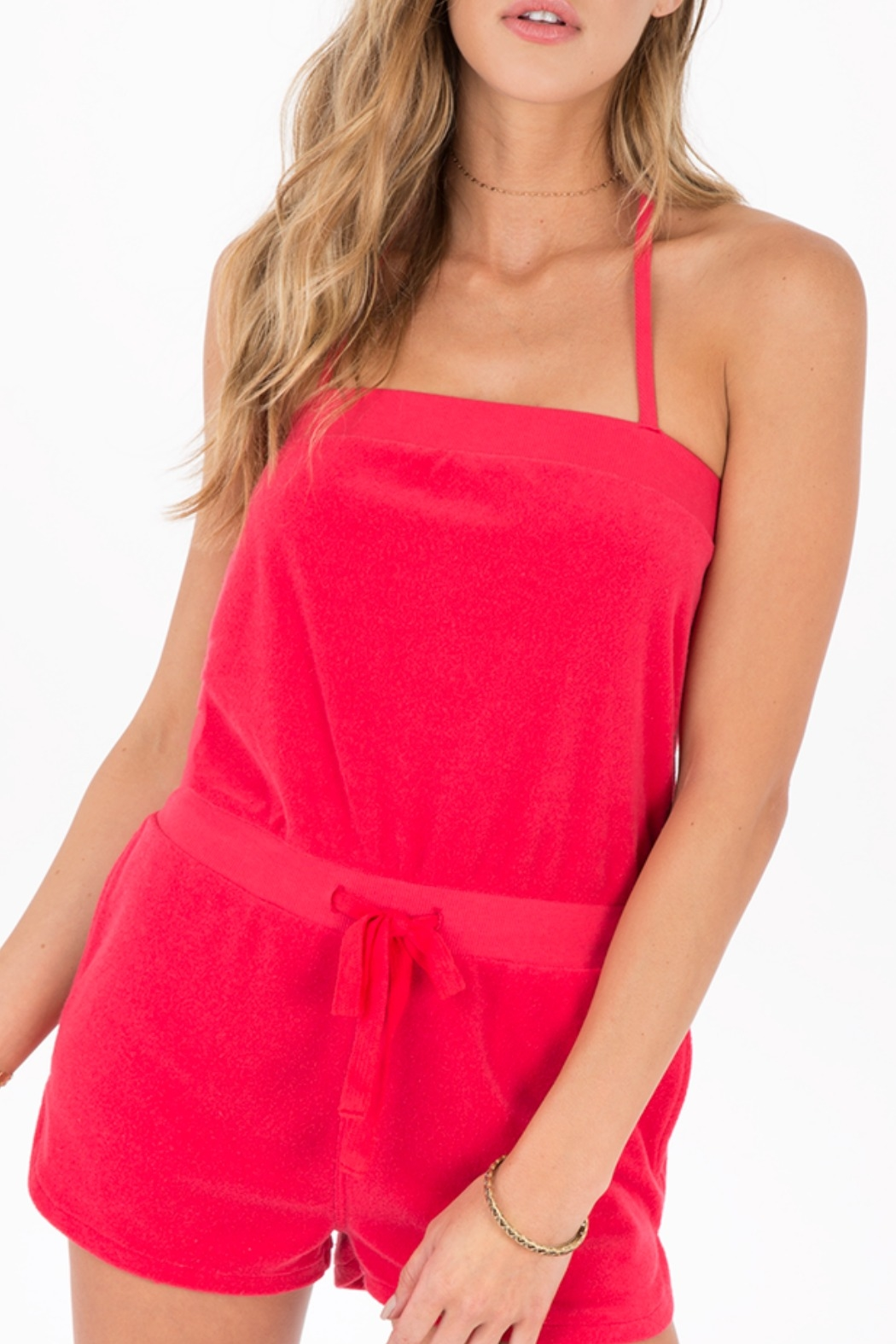 Others Follow  Coral Terry Romper - Main Image