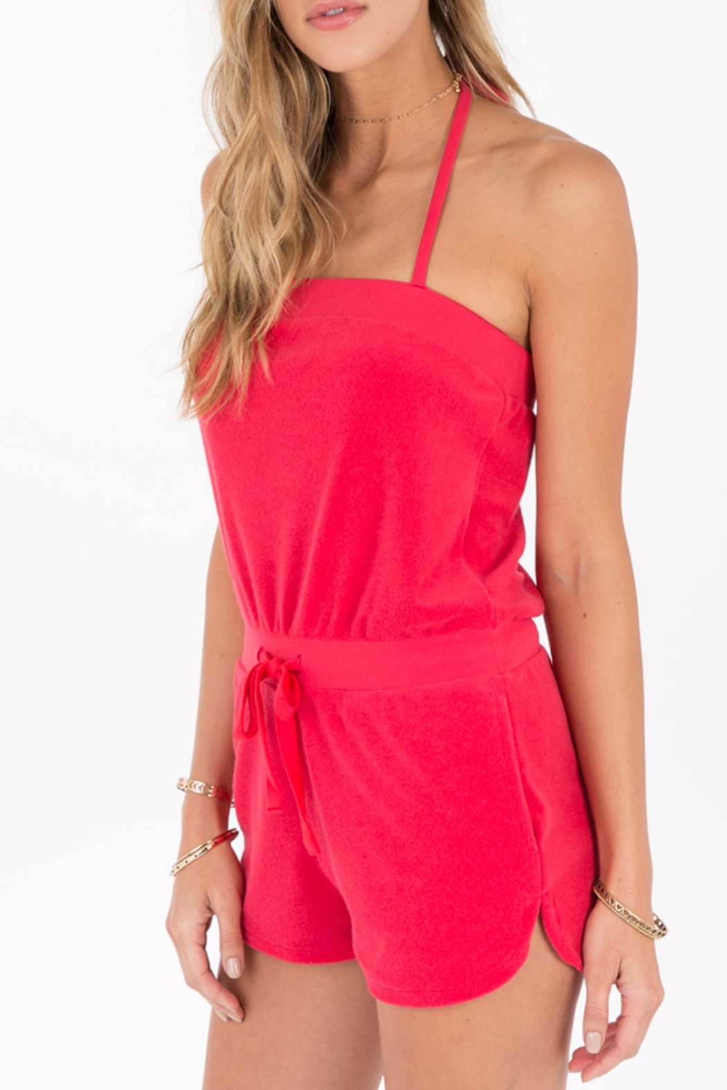 Others Follow  Coral Terry Romper - Front Full Image
