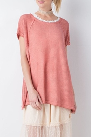 easel Coral Thermal-Knit Top - Product Mini Image
