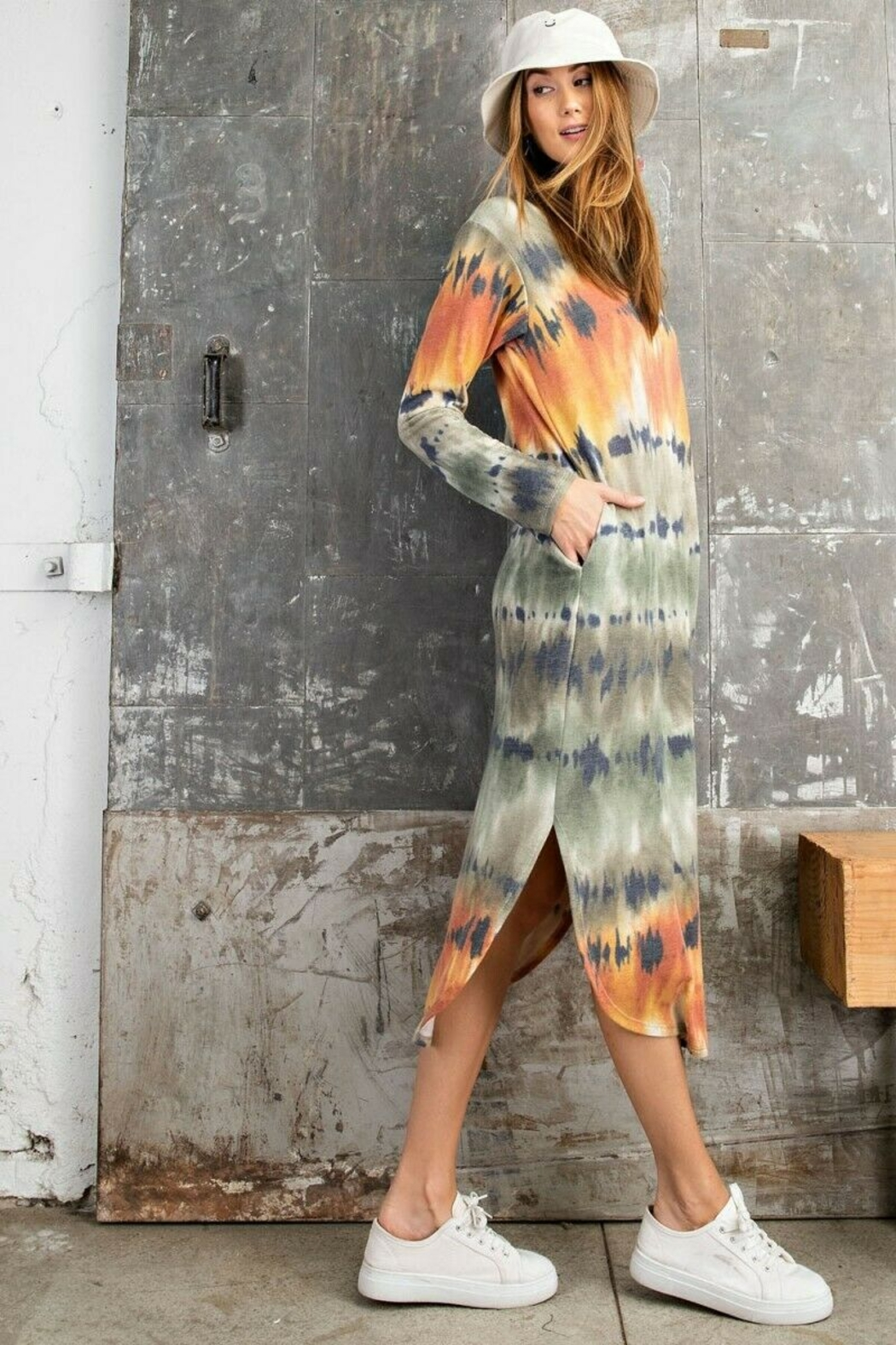 Easel  Coral Tie Dye Midi Dress - Front Full Image