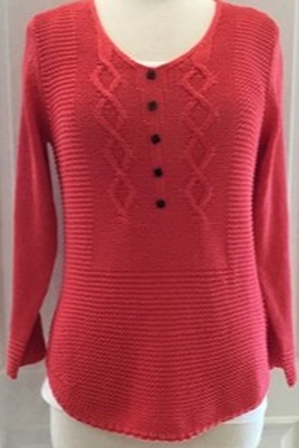Marble Coral tunic sweater with button detail. 3/4 sleeve with button on cuff. - Main Image