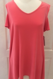 Clara sun woo Coral v-neck top, cold shoulder, loose fit. - Product Mini Image