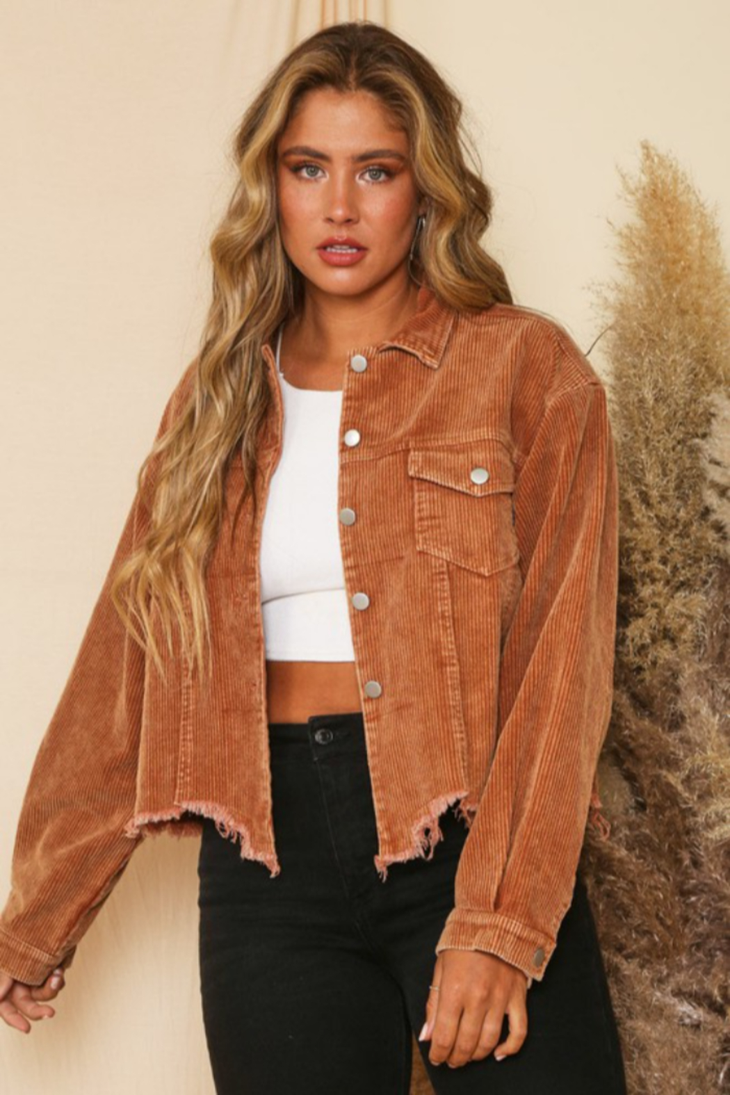 Peach Love California Cord Crop Distressed Jkt - Front Full Image