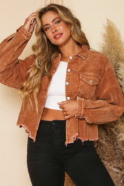 Peach Love California Cord Crop Distressed Jkt - Front cropped