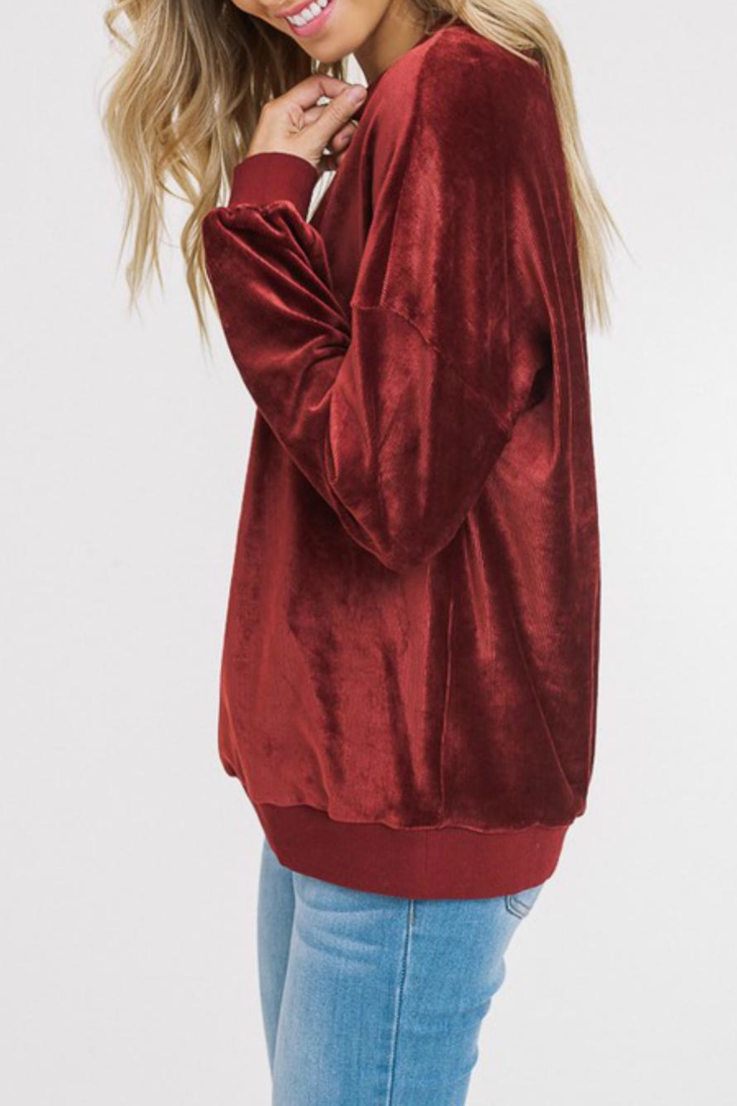 Listicle Corded Velour Pullover - Front Full Image