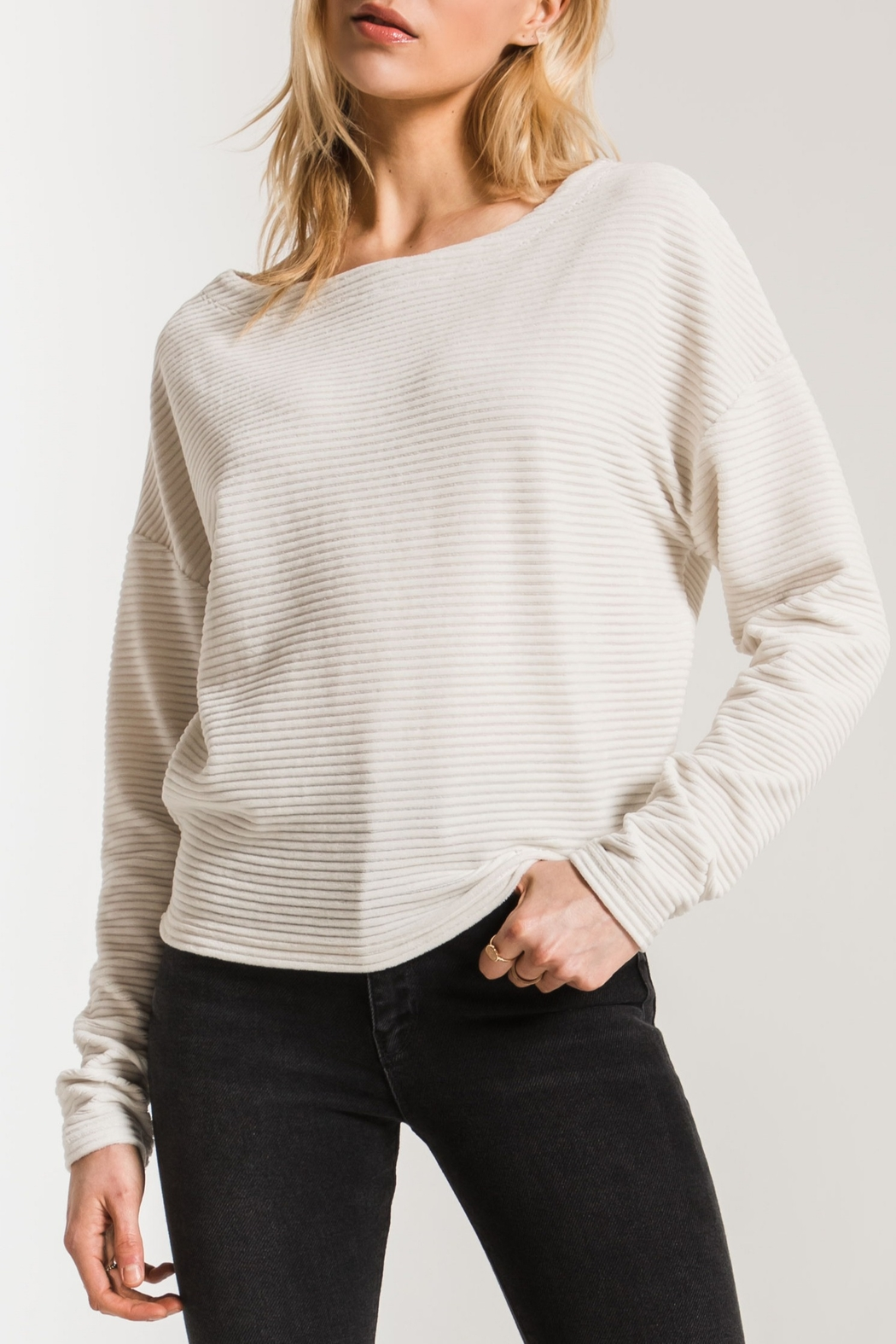 z supply Corduroy Boat-Neck Top - Front Cropped Image