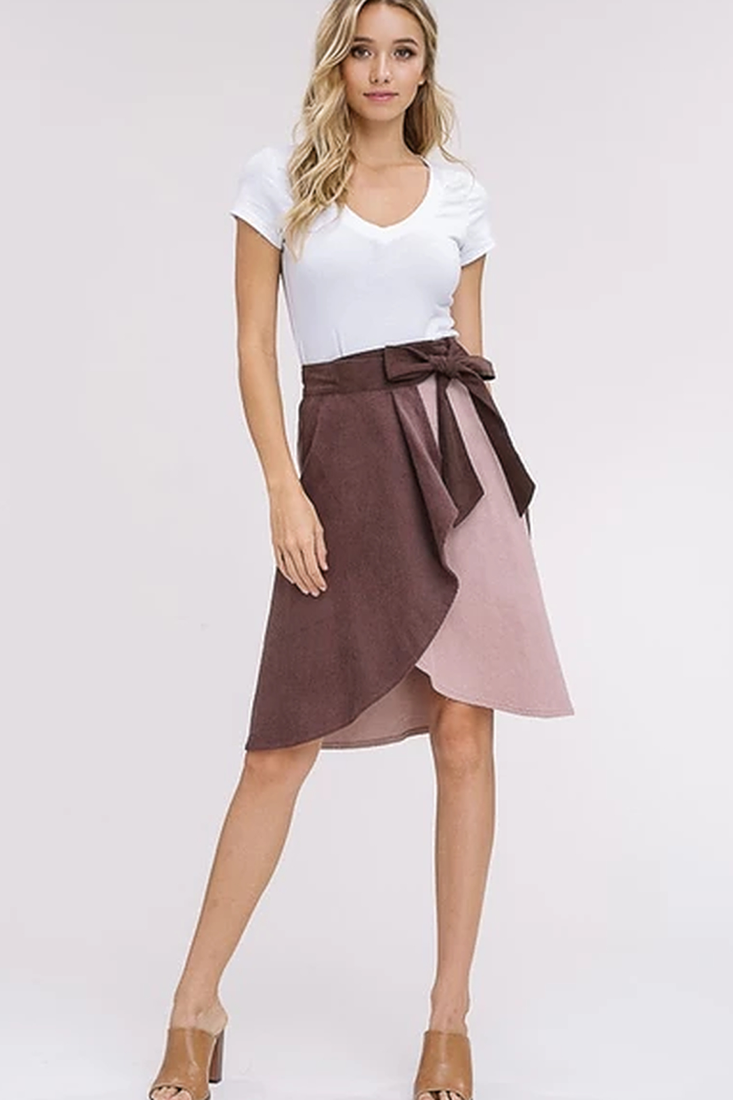 Listicle Corduroy Color Block Wrap Skirt - Side Cropped Image