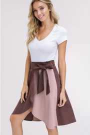 Listicle Corduroy Color Block Wrap Skirt - Front cropped