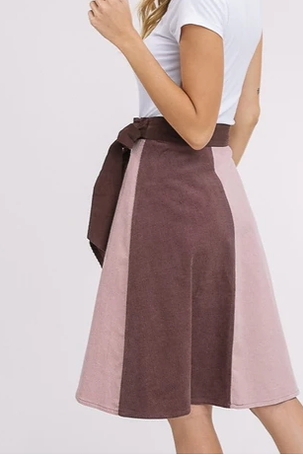Listicle Corduroy Color Block Wrap Skirt - Front Full Image