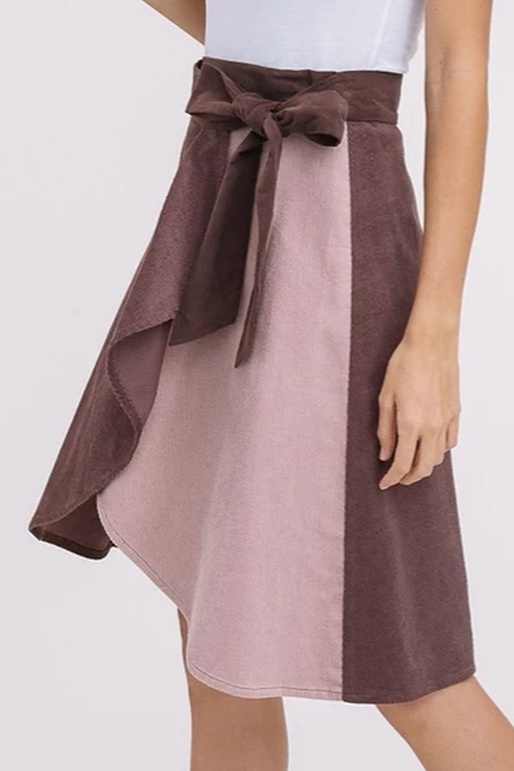 Listicle Corduroy Color Block Wrap Skirt - Back Cropped Image