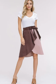 Listicle Corduroy Color Block Wrap Skirt - Side cropped