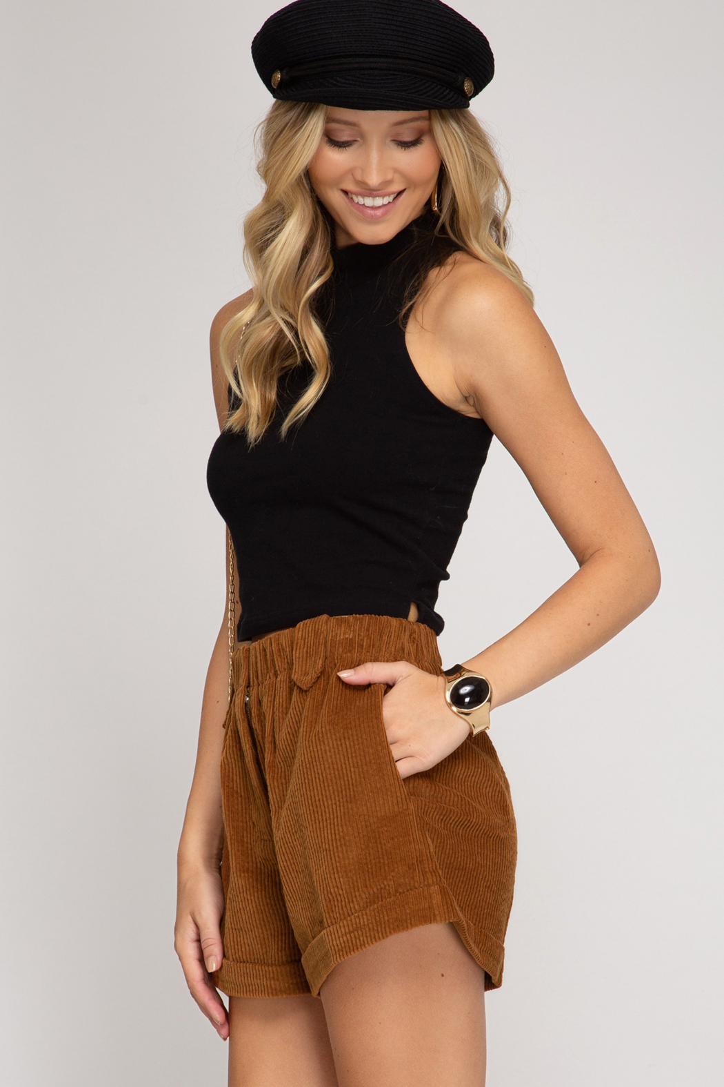 She + Sky Corduroy Cuffed Short - Front Full Image