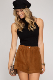 She + Sky Corduroy Cuffed Short - Front cropped