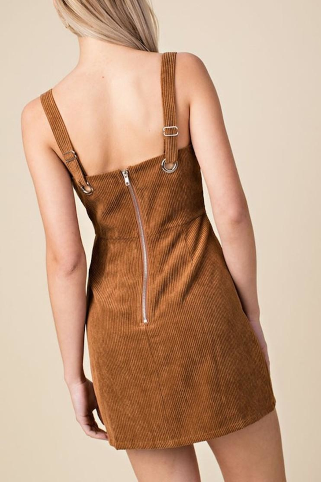 Honey Punch Corduroy Overall Dress - Back Cropped Image