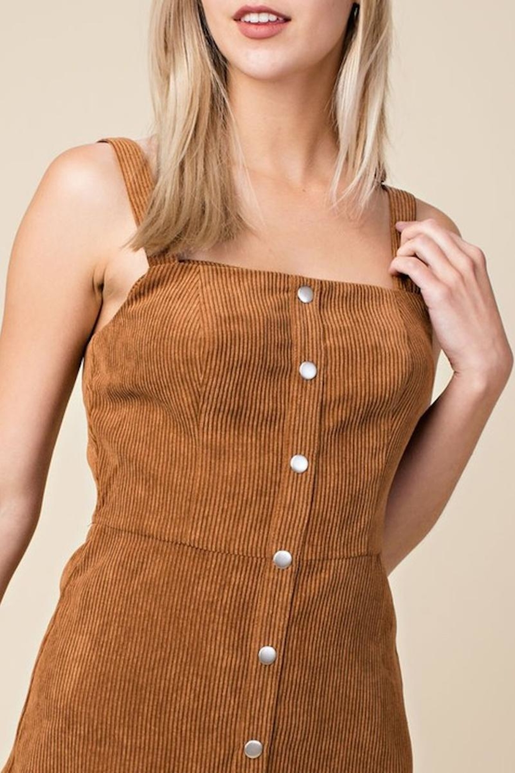 Honey Punch Corduroy Overall Dress - Side Cropped Image