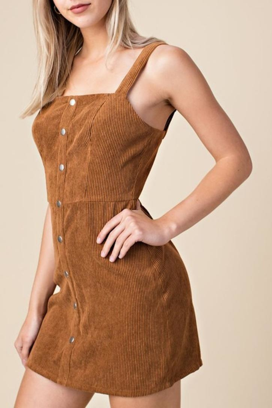 Honey Punch Corduroy Overall Dress - Front Full Image