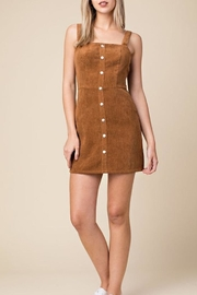 Honey Punch Corduroy Overall Dress - Front cropped