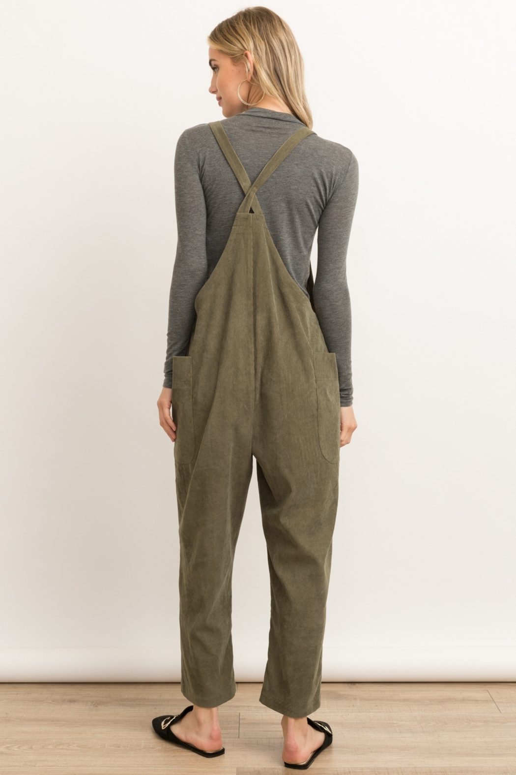 Hem and Thread Corduroy Overalls - Side Cropped Image