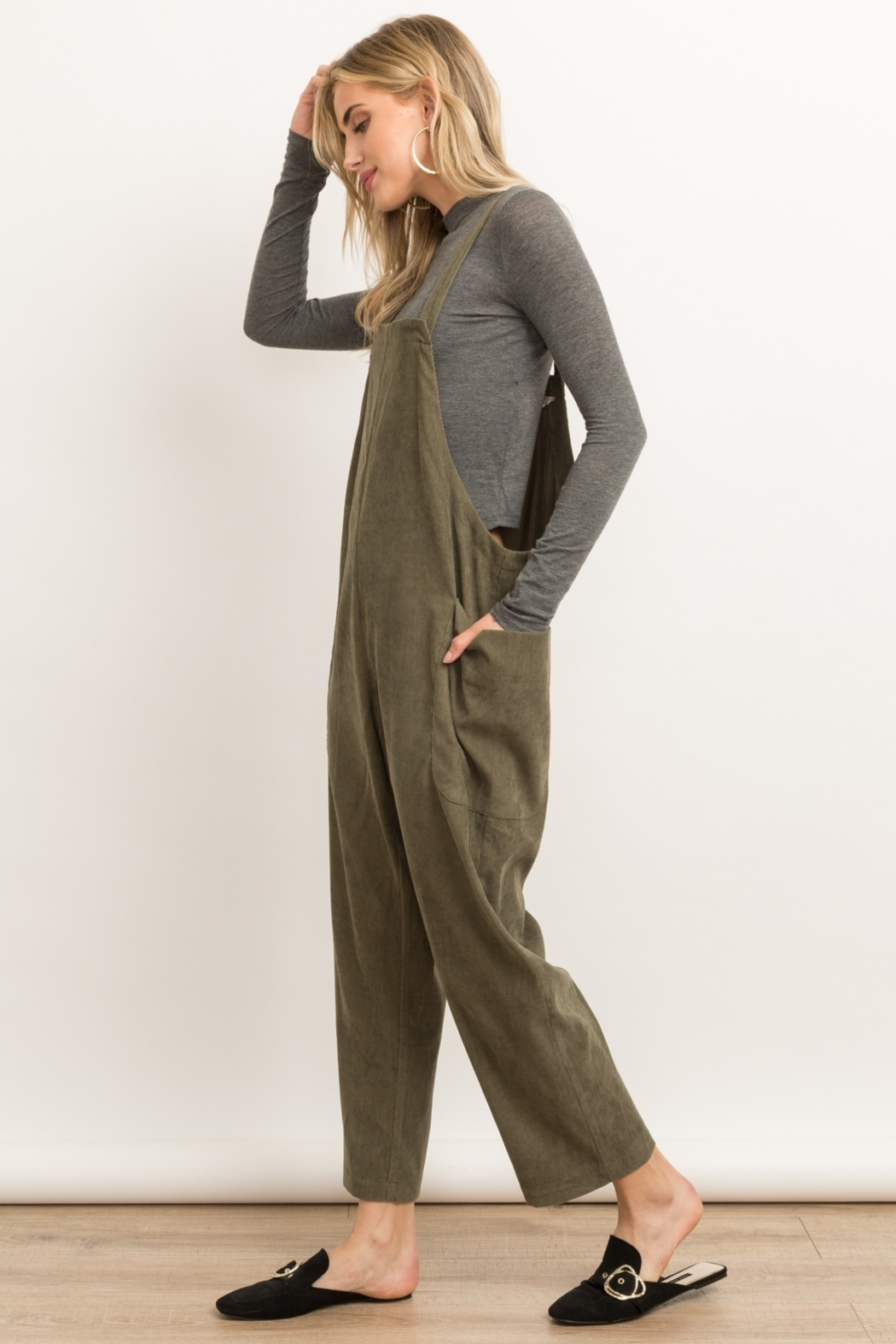 Hem and Thread Corduroy Overalls - Front Full Image