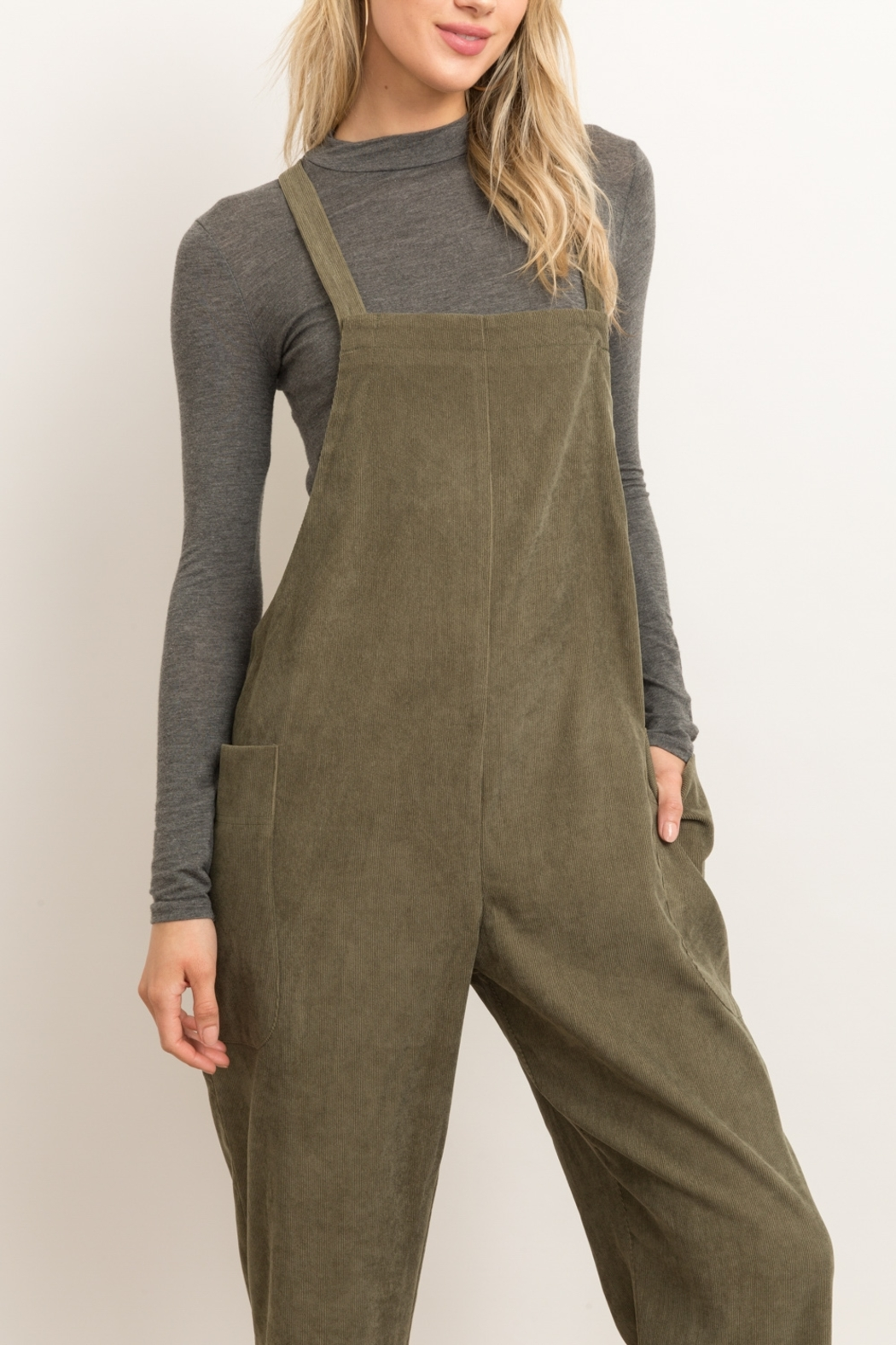 Hem and Thread Corduroy Overalls - Back Cropped Image