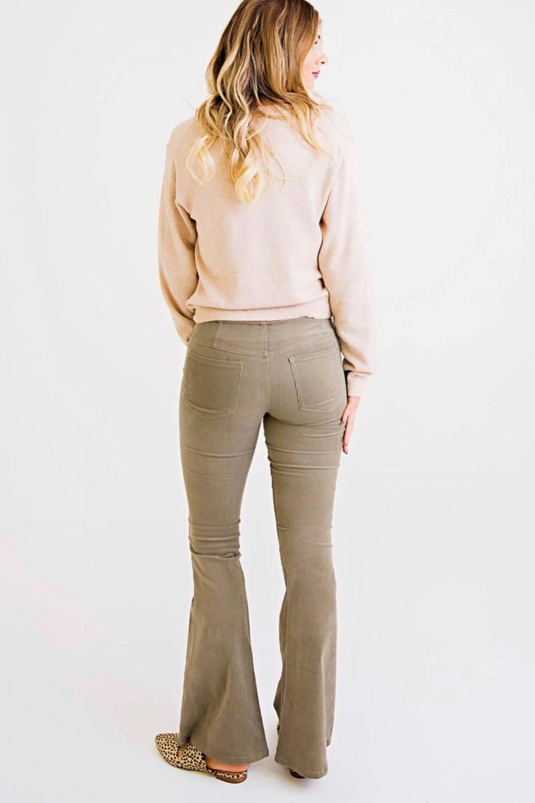 Karlie Corduroy Pull-On Flare - Front Full Image