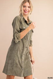 KORI AMERICA Corduroy Shirt Dress - Front cropped