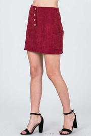 Olive Corduroy Skirt Burgundy - Side cropped