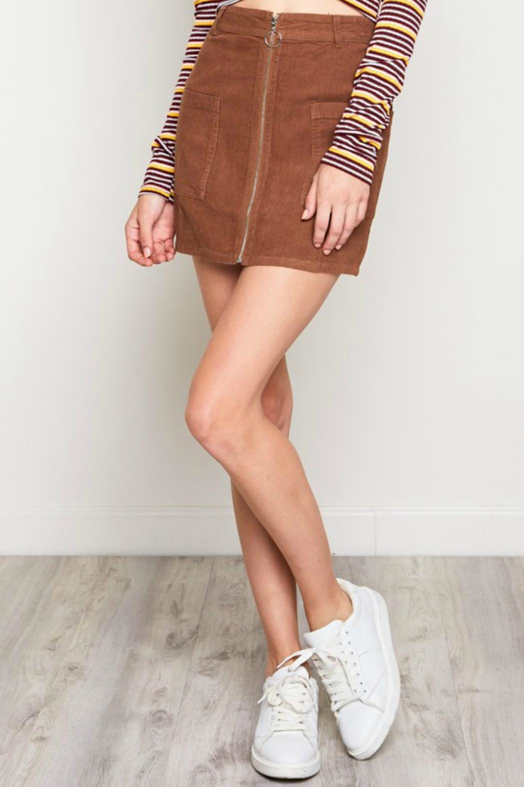 blue blush Corduroy Zipper-Front Skirt - Front Cropped Image