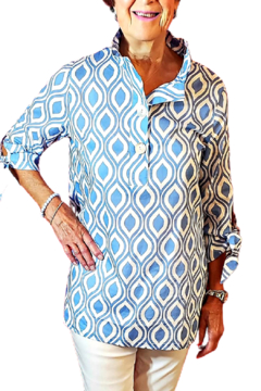 Toofan Cornflower Blue and White Blouse - Product List Image