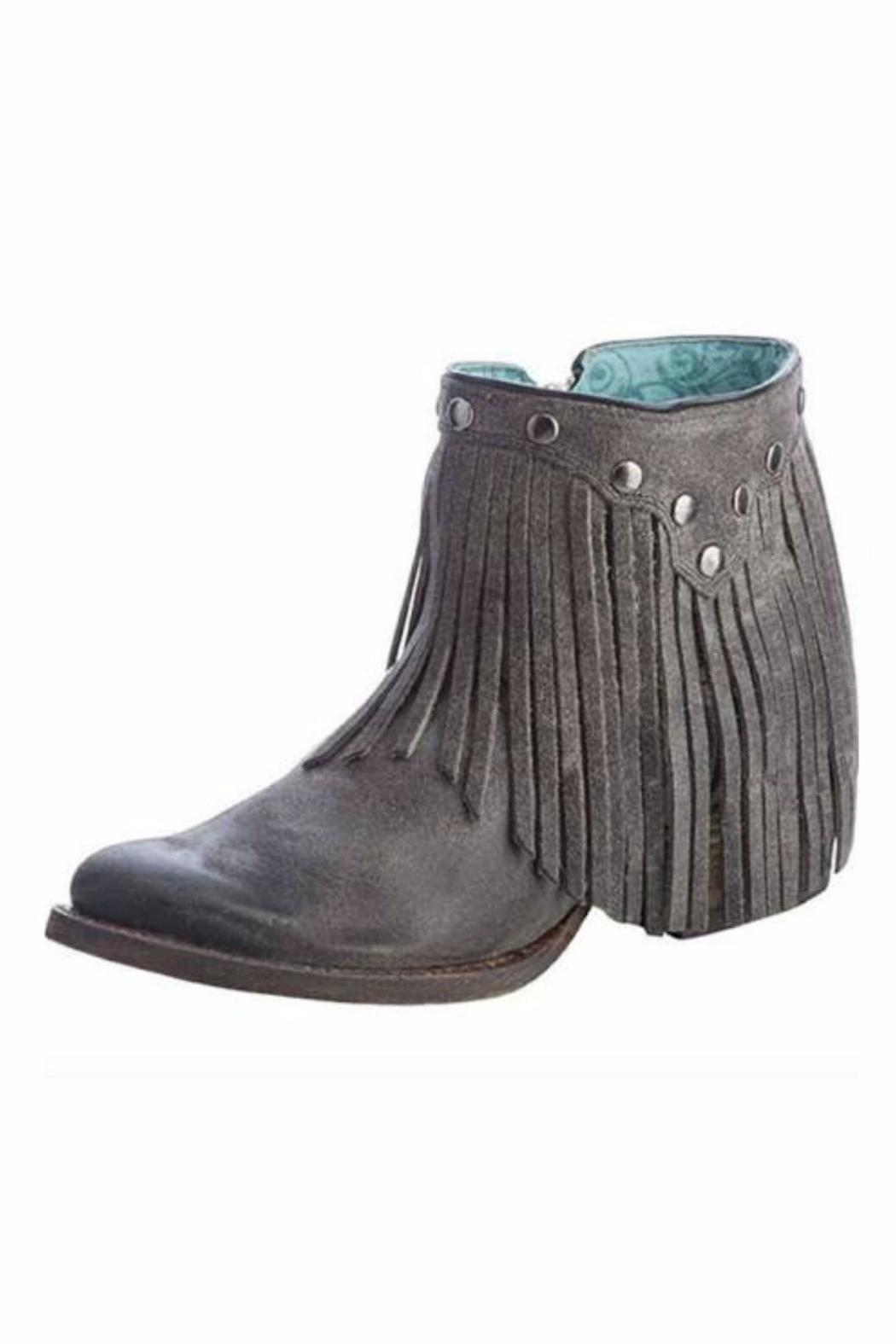 Charcoal Fringe Bootie