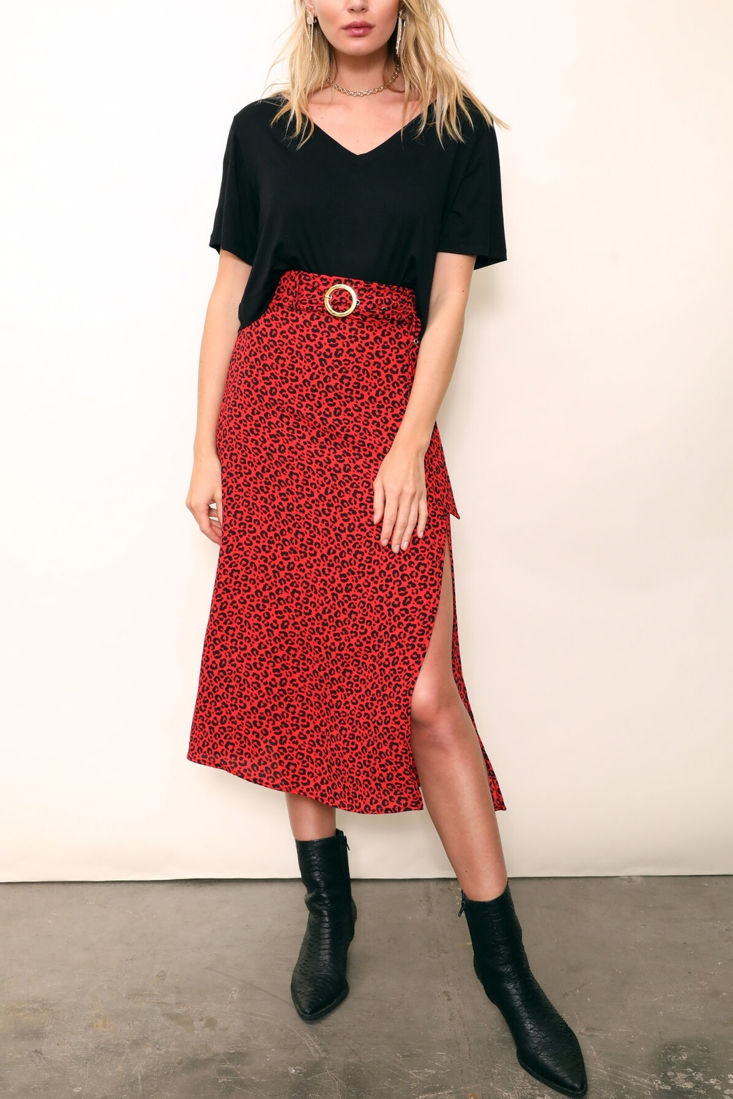East-N-West Corrine Leopard Belted Midi Skirt - Front Cropped Image