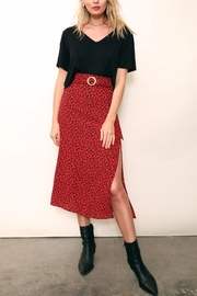 East-N-West Corrine Leopard Belted Midi Skirt - Front cropped