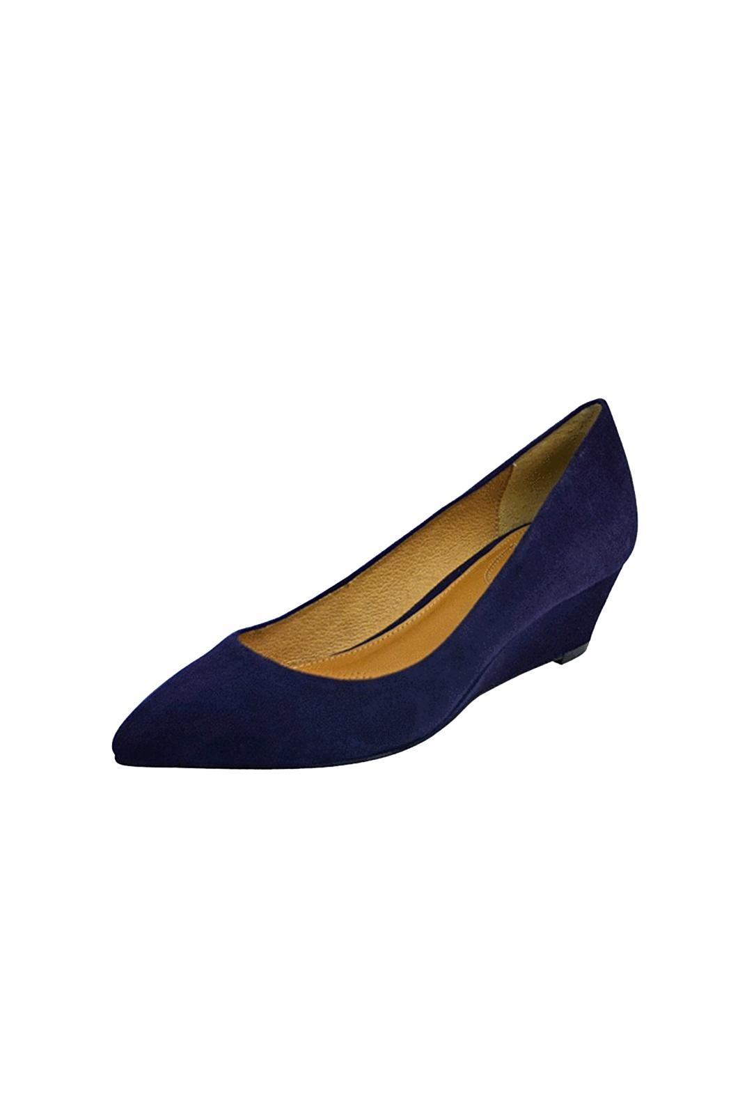Corso Como Blue Suede Wedge - Front Cropped Image
