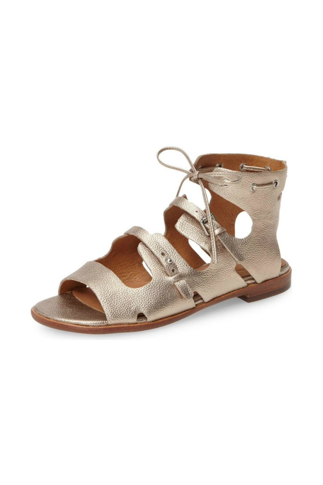 Corso Como Champagne Leather Gladiator Sandal - Front Cropped Image