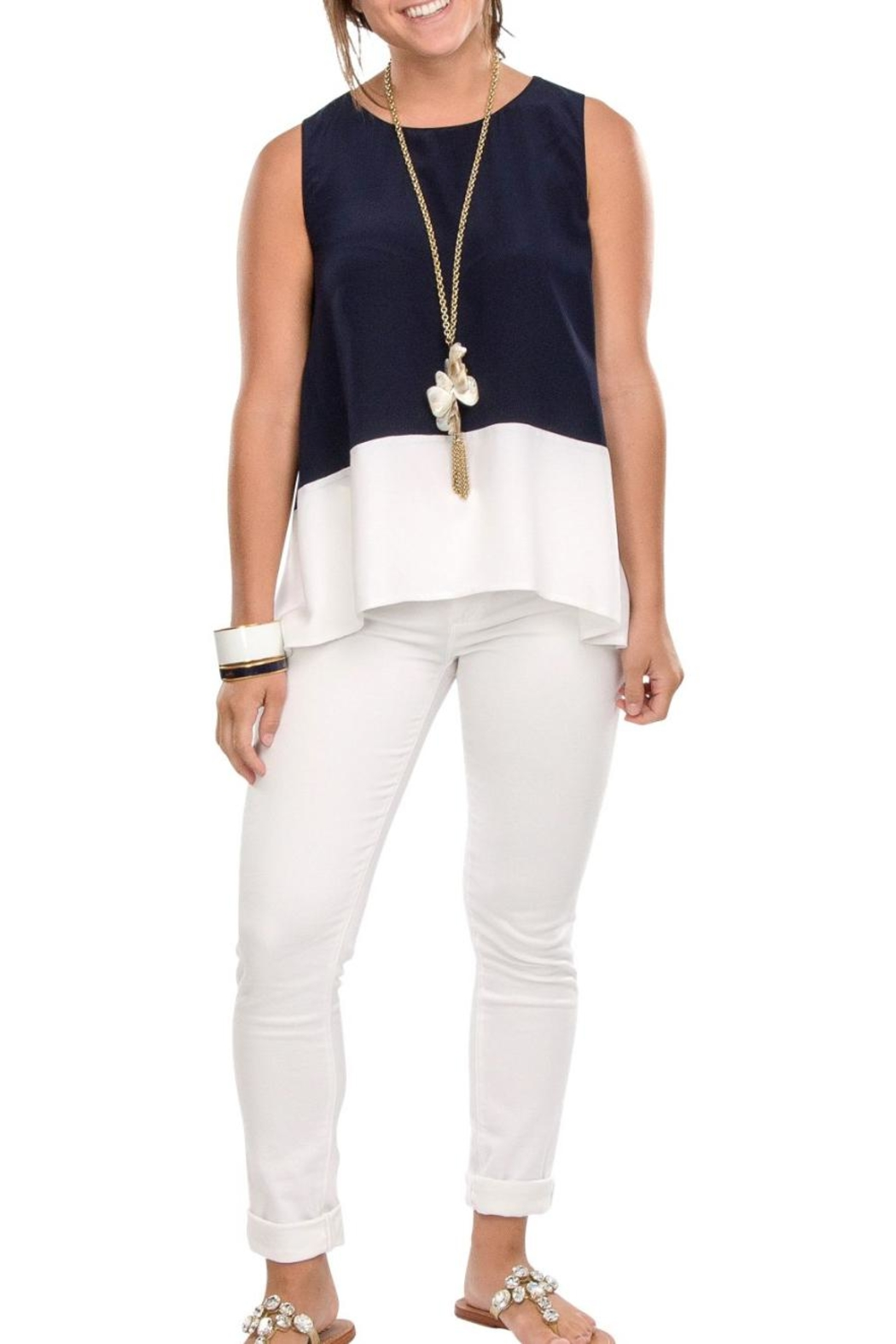 Cortland Park Color Block Tank Top - Front Cropped Image