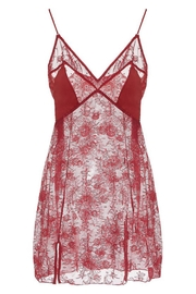 Cosabella Red Lace Chemise - Front full body