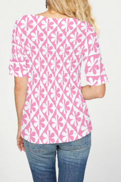 Whimsy Rose Cosmo Pink Ikat - Banded Elbow Sleeve Top - Alternate List Image